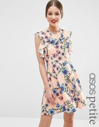 Asos Petite Ruffle Neck Skater Dress In Pretty Floral Print Pink