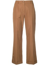 Aspesi Cropped Straight Leg Trousers Brown
