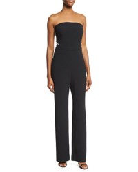 Pamella Roland Pearly Beaded Strapless Crepe Jumpsuit Black