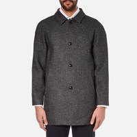 Folk Men's Clean Car Buttoned Overcoat Charcoal Grey