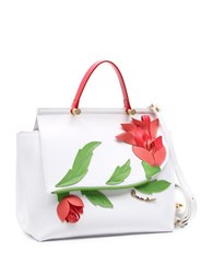 Braccialini Marcella Flower Applique Saffiano Leather Satchel White