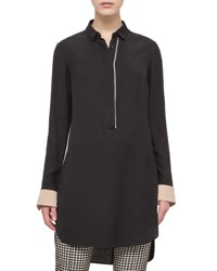 Akris Punto Contrast Trim Long Tunic Black Multi