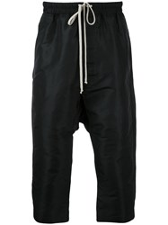 Rick Owens Drop Crotch Cropped Trousers Men Silk Polyester 48 Black
