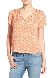 Hinge Women's Print Split Neck Top Orange Shell Starlings