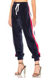 Kendall Kylie Drawstring Velour Pant Navy