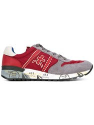 Premiata Lace Up Sneakers Men Calf Leather Polyamide Calf Suede Rubber 43 Red