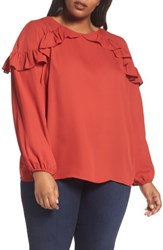 London Times Plus Size Women's Ruffle Cold Shoulder Top Brick