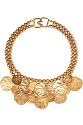 Kenneth Jay Lane Hammered Gold Tone Necklace One Size