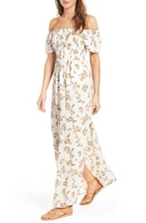 Socialite Women's Smocked Off The Shoulder Maxi Dress Ivory Floral