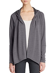Balance Collection Asymmetrical Open Front Jersey Knit Hoodie Dark Grey