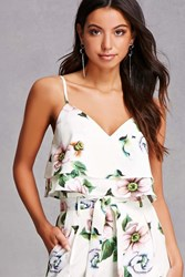 Forever 21 Tiered Floral Cropped Cami Cream Green