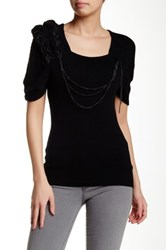 Chaudry Short Sleeve Braided Sweater Black