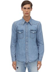 Calvin Klein Jeans Western Cotton Denim Shirt Blue