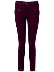 Pure Collection Harmony Cotton Stretch Zip Pocket Trousers Winter Berry