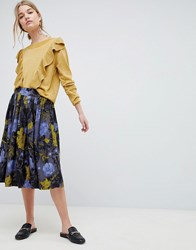 Selected Selecetd Sonja Floral Midi Skirt Flower Aop Blue