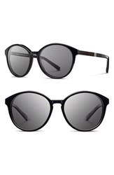 Women's Shwood 'Bailey' 53Mm Round Sunglasses Black Ebony Grey