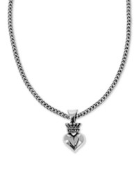 King Baby Studio Crown And Heart 18 Pendant Necklace In Sterling Silver