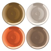 Lsa International Polka Assorted Tea Plates Set Of 4 Metallic