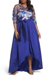 Adrianna Papell Plus Size Women's Floral Flutter Embellished High Low Gown Royal Nude