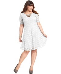 Love Squared Plus Size Short Sleeve Lace A Line Dress Ivory