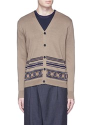 Kolor Tribal Intarsia Mesh Trim Cardigan Brown