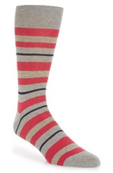 Lorenzo Uomo Uneven Stripe Socks Light Grey