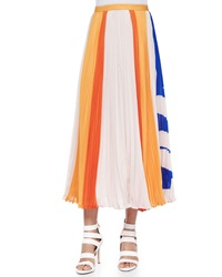 Elle Sasson Carmen Flower Stripes Midi Skirt