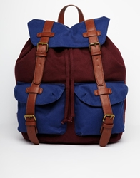 Asos Backpack With Contrast Straps In Colour Block Red