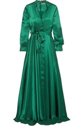 Alexis Mabille Bow Detailed Embellished Duchesse Satin Gown Emerald