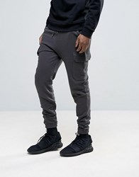 Asos Skinny Joggers With Cargo Pocket In Washed Black Bal