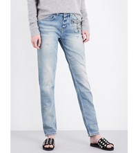 The Kooples Willy Distressed Skinny Fit Mid Rise Stretch Denim Jeans Blu01