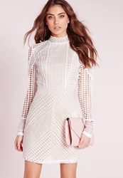 Missguided Structured High Neck Premium Lace Mini Dress White White