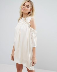 Fashion Union Cold Shoulder Dress With Frill Beige