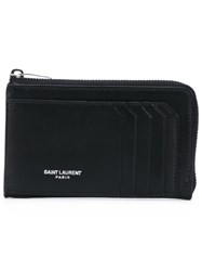 Saint Laurent Zip Around Wallet Women Leather One Size Black