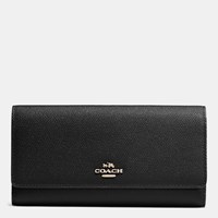 Coach Trifold Wallet In Crossgrain Leather Light Gold Black