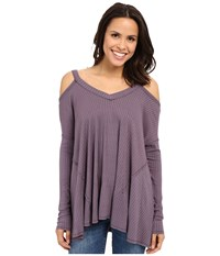 Culture Phit Constance Cold Shoulder Ribbed Top Plum Women's Clothing Purple