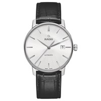 Rado R22860015 Unisex Coupole Classic Date Automatic Leather Strap Watch Black Silver