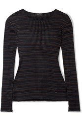 Akris Striped Mulberry Silk Sweater Black