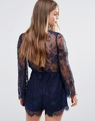 Love And Other Things Lace Playsuit Navy Blue