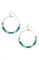 Cara Women's Sequin Hoop Earrings Turquoise