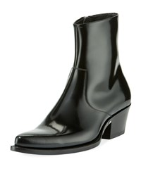 Calvin Klein Chris Washed Distressed Leather Western Boots Black