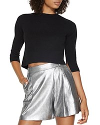 Halston Heritage Cutout Cropped Sweater Black