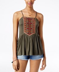 American Rag Embroidered Babydoll Tank Top Only At Macy's Olive