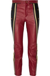 Chloe Striped Leather Straight Leg Pants Burgundy