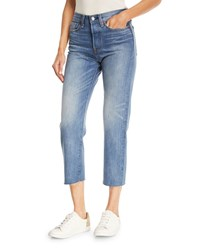 Levi's Premium Partners In Crime Wedgie Icon Fit Straight Leg Jeans W Raw Edge Hem Light Blue