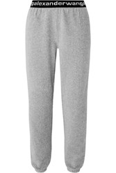 Alexander Wang T By Intarsia Trimmed Stretch Cotton Blend Corduroy Tapered Track Pants Gray