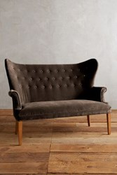 Anthropologie Velvet Wingback Bench Chocolate