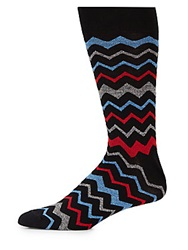 Saks Fifth Avenue Zig Zag Mid Calf Socks Black