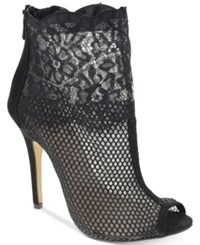 Chinese Laundry Jeopardy Mesh Lace Booties Women's Shoes Black Lace