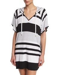 Lablanca Between The Lines Striped Pullover Hoodie Coverup Black White